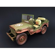 1:18 Weathered Die Cast Army Jeep Vehicle - US Army (Green)