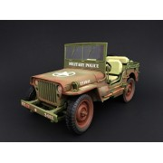 1:18 Weathered Die Cast Army Jeep Vehicle - Military Police (Green)