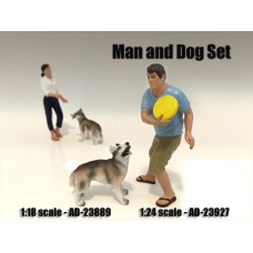 AD-23927 Man and Dog (Set of 2)