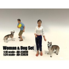 AD-23928 Woman and Dog (Set of 2)